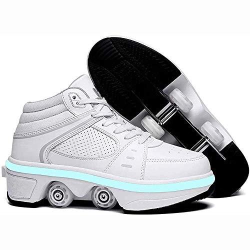 Zapatos para caminar automáticos Zapatos de polea invisible Patines Zapatos con ruedas LED Hombres y mujeres Zapatos de patinaje con ruedas de deformación de doble fila para niños adultos, z