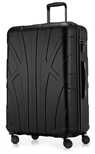 Suitline großer Hartschalen-Koffer Koffer Trolley Rollkoffer XL Reisekoffer, TSA, 76 cm, ca. 86 Liter, 100{85d2298ba1ec6ee39d80bb9706d2b8c83b5e66cf264800ed969a904ab5acd6bb} ABS Matt, Schwarz