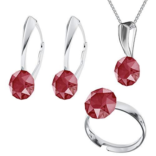Juego de joyas de plata de ley 925 con cristales de Swarovski Xirius, color rojo real, pendientes, anillo ajustable, collar con colgante, joya con caja de regalo (Air Blue)