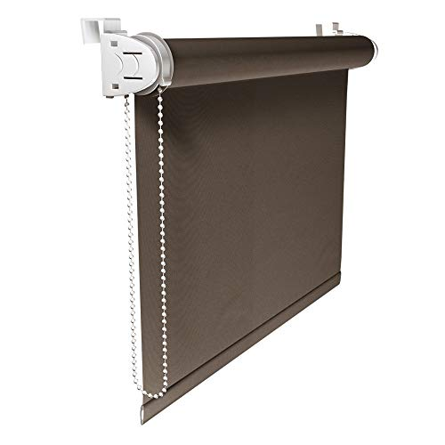 Victoria M. Klemmfix Verdunkelungsrollo ohne Bohren Rollo 100 x 150 cm, Braun, Seitenzugrollo Verdunkelung für Fenster und Türen