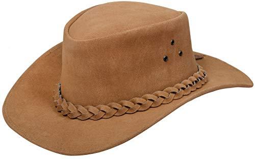 Infinity Leather Sombrero Australiano de Estilo Unisex Vaquero Outback Bronceado Cuero de Ante Bush S