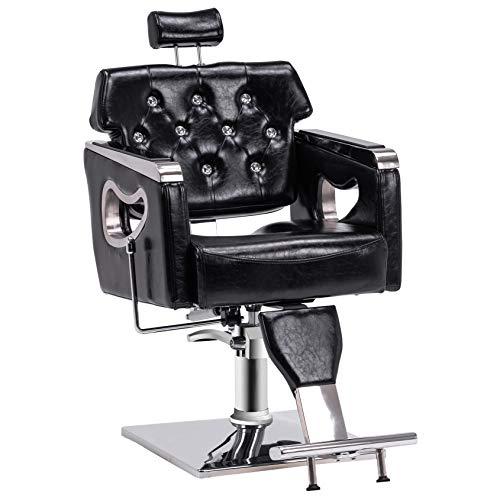 BarberPub Barber Chair Reclining Salon Chair for Hair Stylist, Antique Hair Spa Salon Styling Beauty Equipment 8132BK (Black)