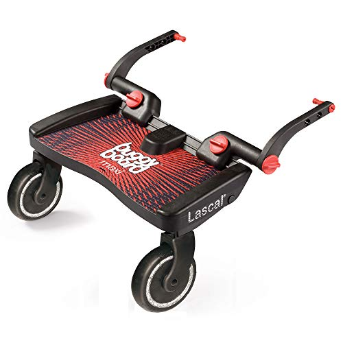 Lascal Maxi BuggyBoard, Compatible with 99% of Pushchairs, Extra Large Anti-Slip Platform, Red 2020
