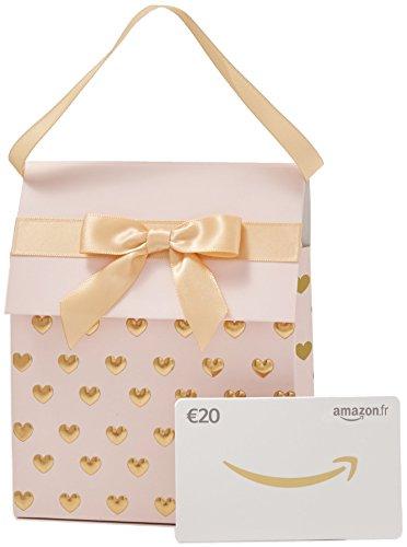 Carte cadeau Amazon.fr -€20 - Dans un Sac cadeau rose et doré