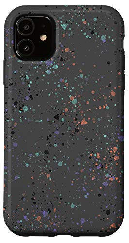 iPhone 11 Paint Splatter Orange Purple Black Grey Case