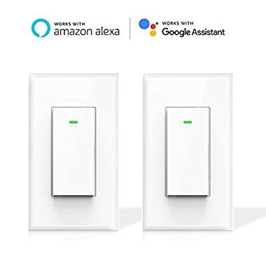 Smart Light Switch, Maxcio WiFi Smart Switch, Works with Amazon Alexa and Google Home, Remote Control with Timing Funtion, No Hub Required, 15A - 2 Packs (Neutral Wire Required)