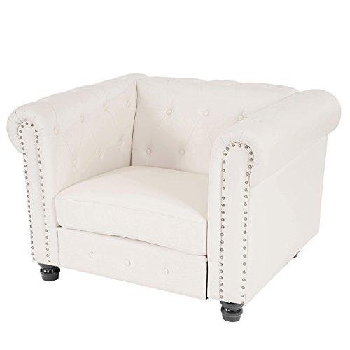Mendler Sessel Loungesessel Relaxsessel Chesterfield Kunstleder ~ runde Füße, weiß