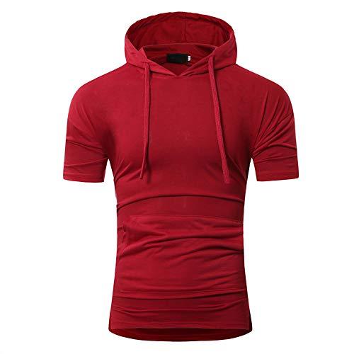 Sudadera con Capucha Hombre Verano con Cordón Ajustado Hombre Camiseta Básica Color Sólido Hombre Manga Corta Deportiva Informal Hombre Tshirt B-Red M