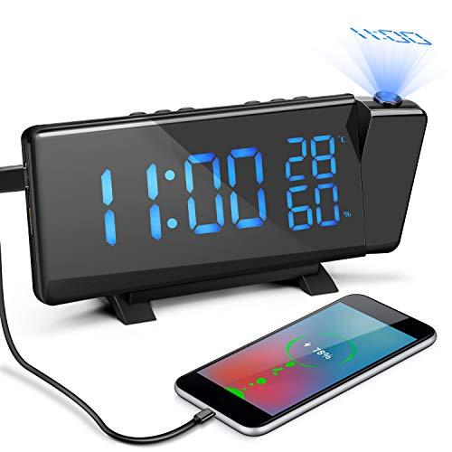Laelr Projectiewekker, instelbare helderheid, digitale FM-wekker met twee wekkers, sluimerfunctie, temperatuur, hygrometer, 12/24-uurs klok op bed en twee USB-poorten