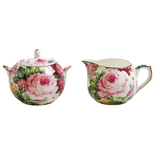 Maxwell & Williams Royal Old England Milch und Zucker Set, Porzellan, grün, rosa, 19 x 10.5 x 8 cm, 2-Einheiten