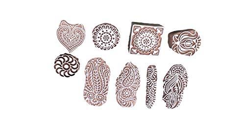 PUSHPACRAFTS Handgemacht Motif Mandala und Runden Holz Blöcke Stempel Stempel Blockprinting Hand Geschnitzt Textildruckblock Paisley (Set von 9)