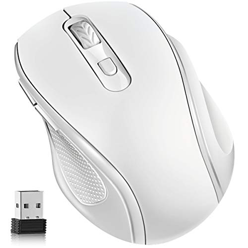 Computer Wireless Mouse, Wireless Ergonomic Mouse 2.4G Portable Cordless Optical Mice with USB Receiver, 3 Adjustable DPI Levels, 6 Buttons for Laptop, PC, Computer, Chromebook, Notebook (White)