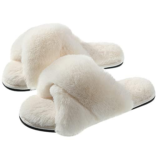 Slippers for Women, Criss Cross Plush Fleece Anti-Skid Memory Foam Slip On Fuzzy Slides for Indoor Outdoor Cream 8-9