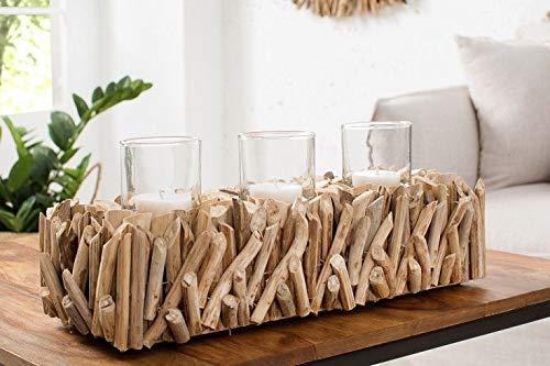 Licht-Erlebnisse Dekorativer Kerzenhalter Treibholz Glas 50 cm lang Handarbeit Kerzenständer Windlicht