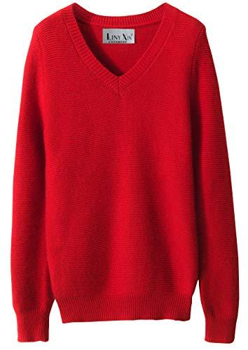 LinyXin Cashmere Damen Kaschmir Rollkragen Pullover Wolle Langarm Freizeit Winter Warm Pulli Sweater (XL / 46-48, Rot)