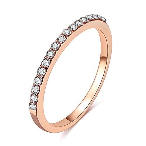 XYBH Timbre de Timbre Rosa Dorada Color Torcido clásico cúbico circonia Anillo de Compromiso de Boda Anillo (Main Stone Color : Chocolate Color, Ring Size : 8)