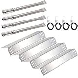Hisencn Stainless Steel Burner Pipe Tube, Heat Plate Shield Tent, Igniter Electrode Repair KIT Replacement for Kitchen Aid 720-0733A, 720-0745, 720-0745B 4 Burner Gas Grill Models