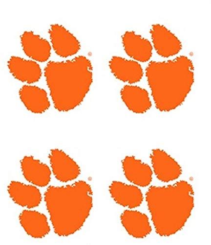 Clemson University Tigers – Waterless Peel & Stick Temporary Spirit Tattoos – 4-Piece – Orange Tiger Paw Print Logo