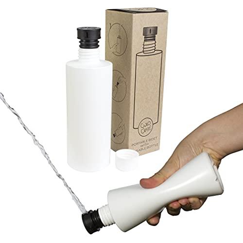 CuloClean Bidé De Mano. El bidet portátil más Discreto. Compatible con cualquier botella de plástico. De viaje, wc con agua caliente, ducha sanitaria (CuloClean + Botella (330ml), 1ud Negro)
