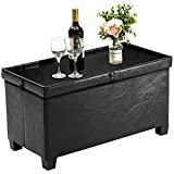 UHSTORAGE Storage Ottoman Coffee Table with Tray,Faux Leather Bench with Leg for Bedroom and Living Room,Foot Rest Ottoman with Resilient Sponge Padded,UHS16-BLK-US