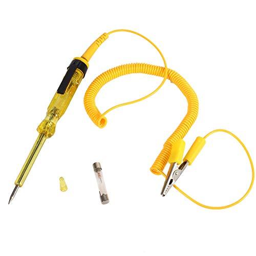 Tester per circuiti elettrici Penna per Test Circuito Auto Auto DC 6V 12V 24V Tensione Lampadina(Giallo)