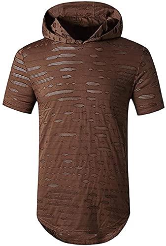 Men's Basic Hip Hop Short Sleeves Holes Hooded Sweatshirt Hoodies T-Shirts