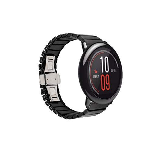 UKCOCO Correa para Amazfit Pace - Correa de Reloj de cerámica Correa de 22 mm Reemplazo de Pulsera de liberación rápida Compatible con Huami Amazfit Pace Smartwatch (Negro)