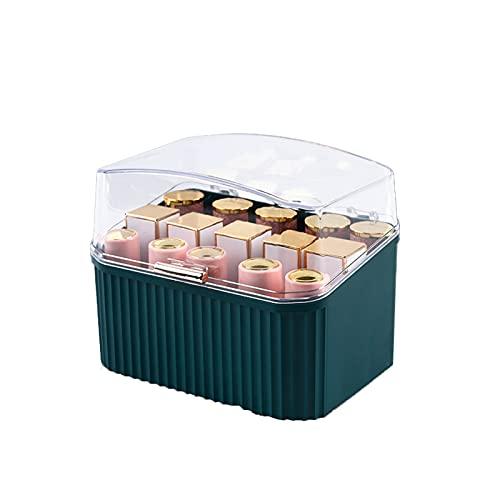 Caja de Almacenamiento de lápiz Labial acrílico con Cubierta Transparente a Prueba de Polvo Estante 15 Dormitorio de celosía, Cuarto en Polvo Green