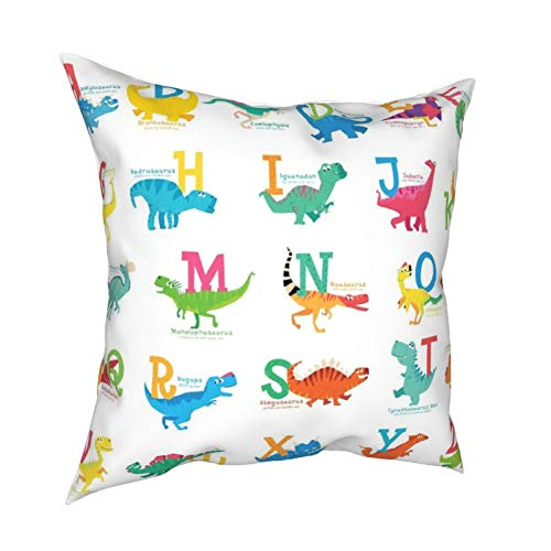iksrgfvb Pillow Case Cushion Covers Dinosaur Alphabet Children Wall Stickers Square Pillowcases for Living Room Sofa 18 x 18 inch