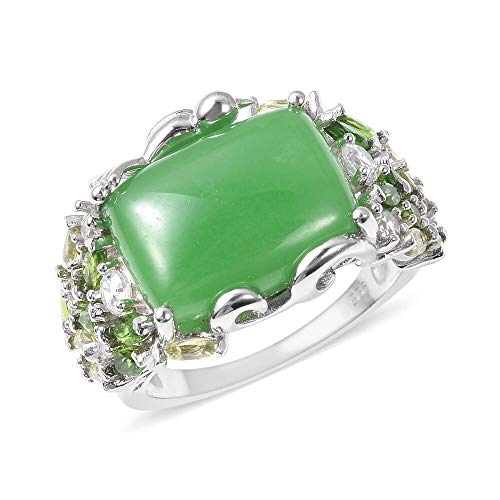 TJC Cocktail Green Jade Ring for Women 925 Sterling Silver White Zircon, Diopside Multi Gemstones Size N, 12.25 Ct