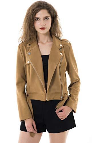Apperloth Women's Solid Long Sleeve Faux Suede Zipper Short Coat Camel Jacket Large