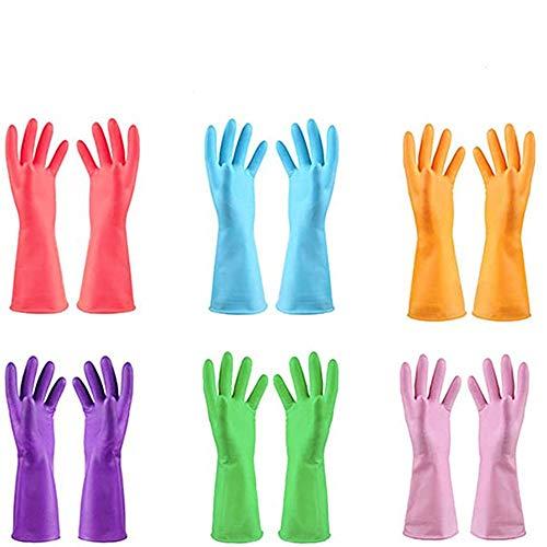 TopBine – Guantes de goma, para la limpieza de la cocina, impermeables, guantes de jardín, guantes de limpieza, 6 l., 0