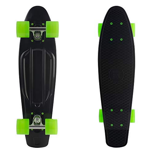 Retrospec Quip Skateboard 22.5' Classic Plastic Mini Cruiser Complete Skateboard w/ABEC 7 Bearings