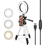 GLCON Selfie Ring Light with Tripod Stand for Live Stream - LED Ring Light with Cell Phone Holder for iPhone Samsung Android - Dimmable Makeup Light with 3 Light Mode 10 Level Brightness for YouTube