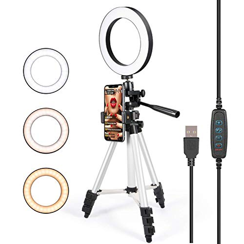 Selfie Ring Light with Tripod Stand for Live Stream - GLCON LED Ring Light with Cell Phone Holder for iPhone Samsung Android - Dimmable Makeup Light for YouTube