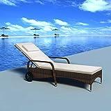 Tidyard Sonnenliege Rattan mit Rollen Gartenliege mit Auflage Relaxliege Liegestuhl Garten Lounge für Garten Terrasse Schwimmbad, Braun