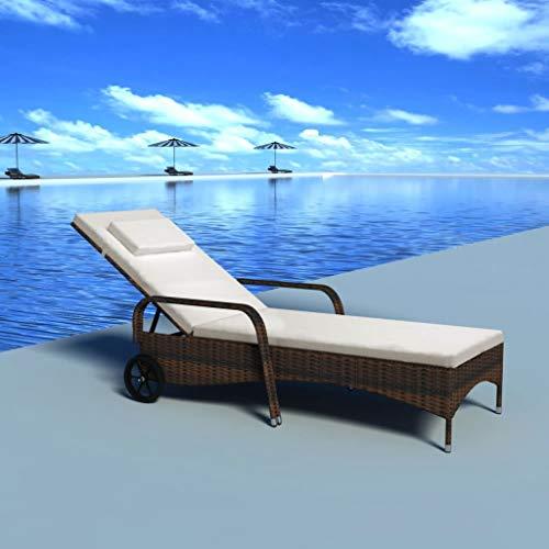 Tidyard Sonnenliege Poly Rattan mit Polster und 2 Rädern, Gartenliege Relaxliege Liegestuhl Rattanliege für Garten Terrasse Schwimmbad, Verstellbare Rückenlehne, Braun