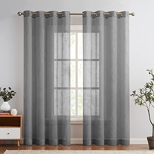 TOPICK Cortina de gasa con ojales, transparente, 2 unidades, para salón o dormitorio, 225 cm x 140 cm, color gris oscuro
