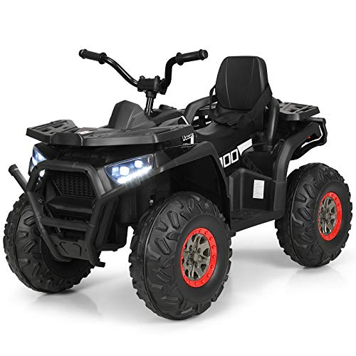 Costzon Ride on ATV, 12V Battery Powered Electric Vehicle w/ Safety Belt, LED Lights, Horn, 2 Speeds, USB/ MP3/TF, Rear Wheel Motorized Ride on 4 Wheeler Quad Car for Kids Over 3 Years Old (Black)