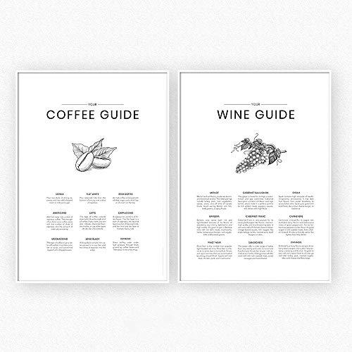 HNZKly Coffee Guide KüChe Wand Bilder Restaurant Leinwand GemäLde Poster Wein Poster Und Kunstdrucke An Der Wand Bilder FüR Wohnzimmer Dekor 50x70cmx2 / Ungerahmt