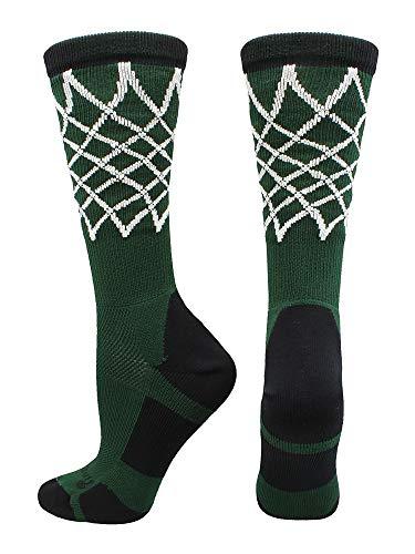MadSportsStuff Crew Length Elite Basketball Socks with Net (Dark Green/Black, Small)