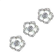 MU Męskie modne spinki do mankietów koszula kwiatowa mankiety guzikowe stop stras klamra dekoracyjna praktyczna dzika biał...