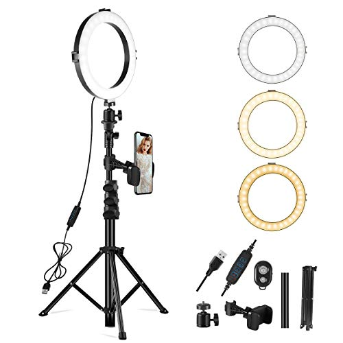 10' Selfie Ring Light with Tripod Stand & Phone Holder,Dimmable Mini Led Camera Beauty Ringlight with Remote