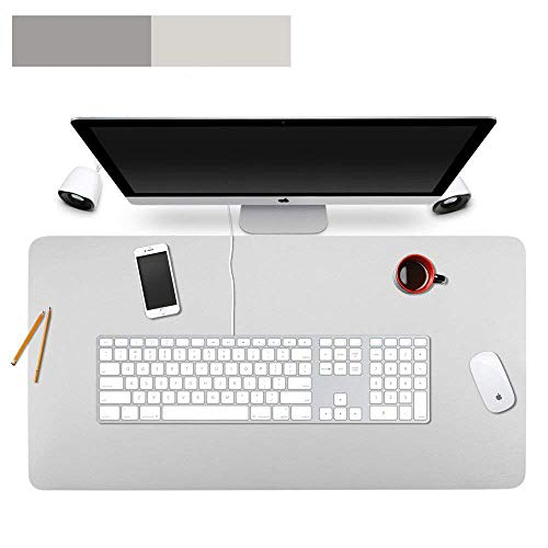 Lurowo Multifunctional Office Desk Pad Leather Computer Mouse Mat Extended Gaming Mouse Pad, Non-Slip Waterproof Dual-Side Use Writing Surface Desk Protector, 23.6'' X 11.8''(Gray,Silver)