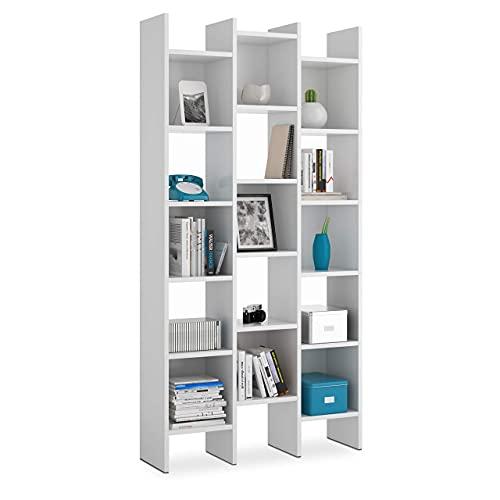 Habitdesign Estantería Librería, Estanteria Despacho, Comedor o Salon, Modelo Italian, Acabado en Blanco Artik, Medidas:...