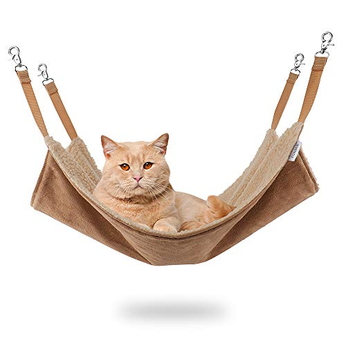 EONMIR Cat Hammocks for Cage, Soft Pet Bed Fit Ferret, Kitten, Puppy, Small Dog (Brown)