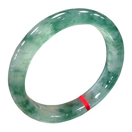 AKT Grüner Jade Armband Armreif für Frauen Handgeschnitzte Smaragd Armreifen Lady Schmuck, Echte Natürliche Jade der Klasse A,54-56mm