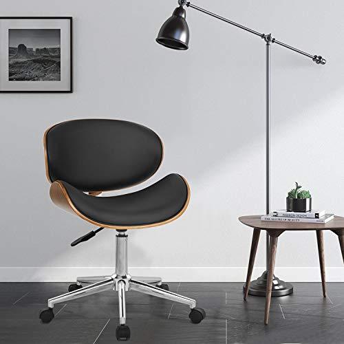 Merax - Moderna estructura de madera, piel acolchada, giratoria, ajustable, silla de escritorio para ordenador o ordenador, silla de oficina, taburete de bar (negro y nogal)