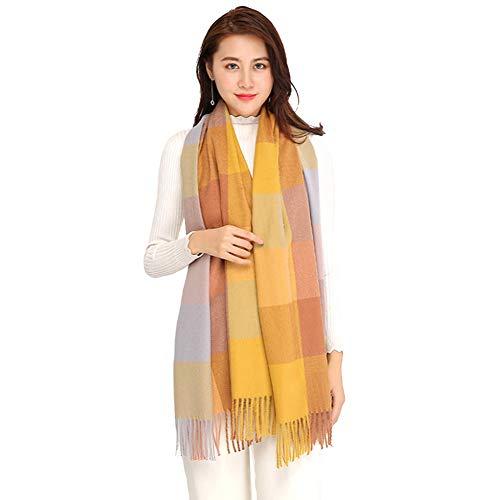 Longwu Bufanda de lana de cachemira suave para mujer Manta y envoltura de pashmina grande Manta de estola cálida 03#