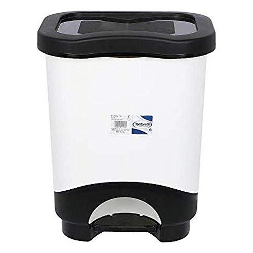 Tontarelli S2201128 Cubo De Basura Con Pedal, 31.6 X 27.6 X 41 Cm X 18 L, color Negro/blanco
